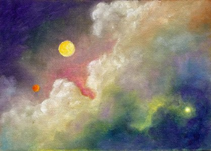 Image result for moon & mars painting