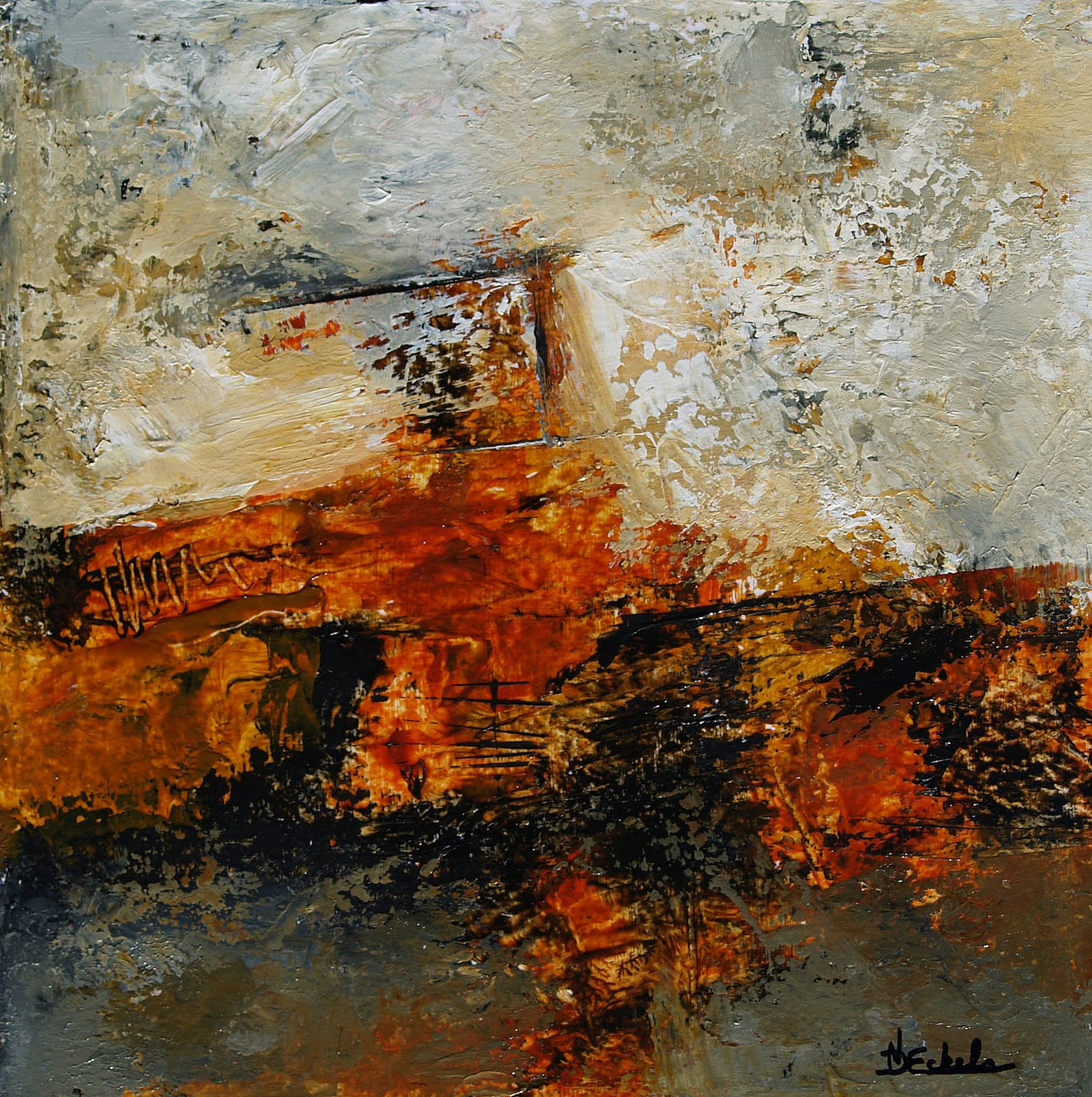 Winter fireside 3 by nancy eckels abstract contemporary for Contemporary mural artists